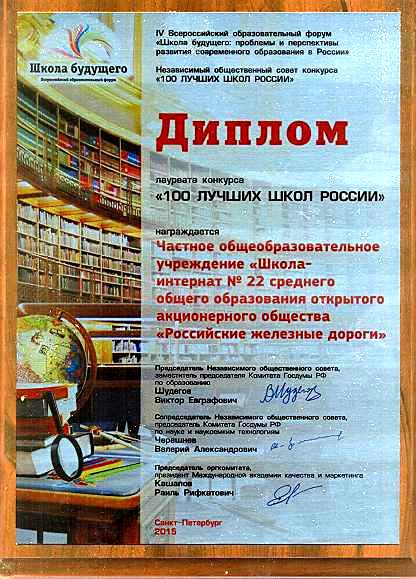 100 лучших школ 2015 ДИПЛОМ